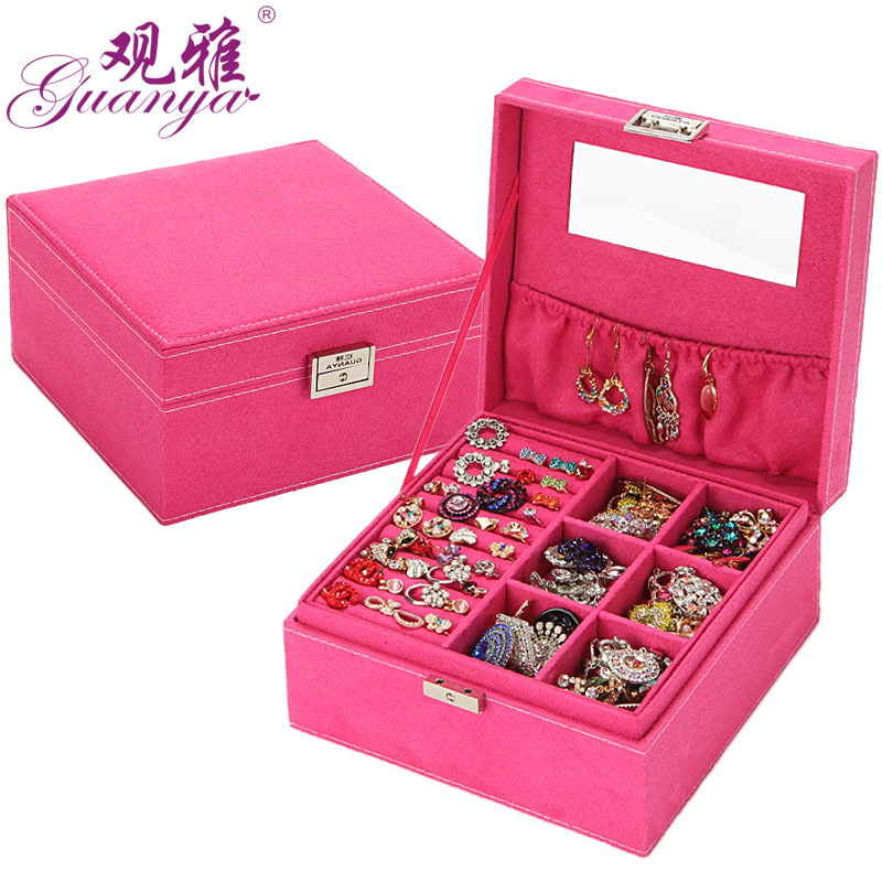 Free Shipping New Fashion birthday Gifts Jewelry 2 Layers Carrying Cases Large Space Classical Jewelry Accessories Box