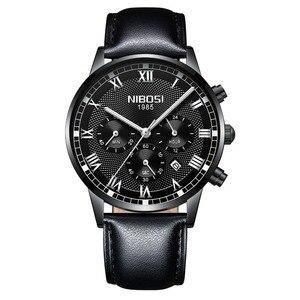 Image 4 - NIBOSI 2019 Neue Quarz Männer Uhr Leder Chronograph Army Military Sport Uhren Uhr Männer Relogio Masculino Männlichen Reloj Hombre