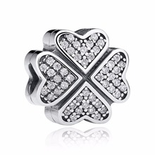 Clover Petals Of Love Clear CZ 100% 925 Sterling Silver Charm Beads Fits Pandora European Charms Bracelet Y