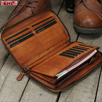 BJYL Full leather men's long zipper wallet handmade vegetable tanned leather wallet young large capacity card package purse