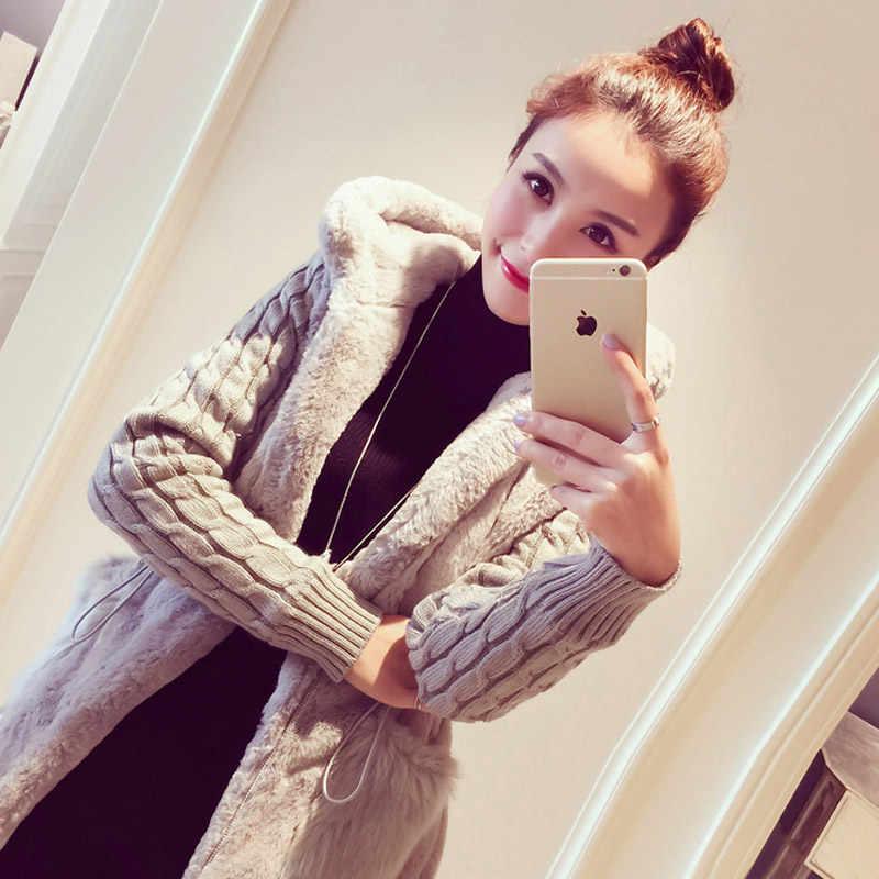 Топы с капюшоном из искусственного меха норки вязать Для женщин свитер пальто осень 2019 зима вязаный пэчворк плюс толстый тонкий свитер пальто
