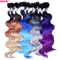 Feilimei Ombre Gray Blonde Body Wave Hair Weft Weaving 18 20 22 280g Synthetic High Temperture