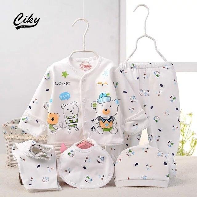 (5pcs/set)Newborn Baby 0-6M Clothing Set Brand Baby Boy/Girl Clothes 100% Cotton Cartoon bear Underwear set hat