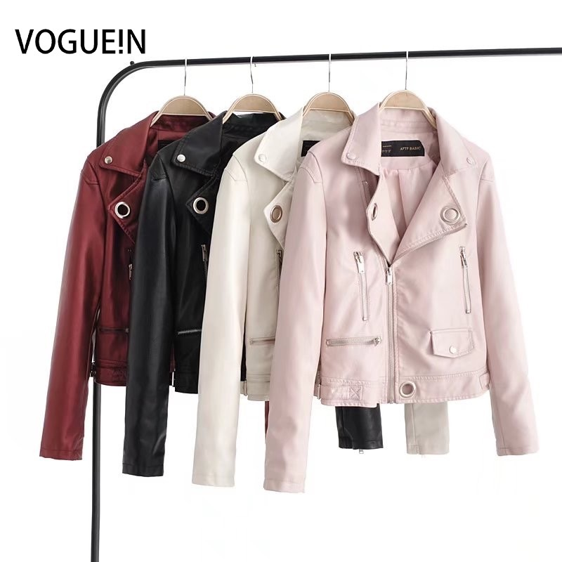 VOGUEIN New Womens Faux   Leather   Zippers Motorcycle Bomber Jacket Outerwear Coat with Metal 4 Colors Wholesale