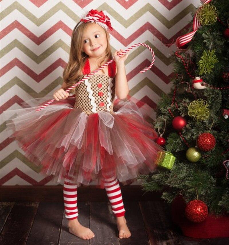 New Flower Girls Christmas Tutu Dress Pastel Rainbow Princess Girls Birthday Party Dress Children Kids Halloween Costume 1-14y