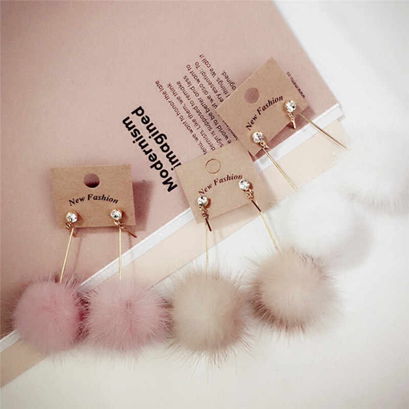 1 Pair Fashion Artificial Mink Hair Ball Dangle Earring For Women Cute White Pompom Earring Girl Nice Gifts Wholesale
