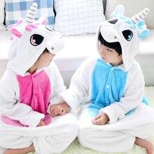 Купить с кэшбэком Girls Boys Winter Coral Fleece Warm Pajama Kigurumi Pajamas Unicorn Cartoon Animal Children Pyjamas Kids Onesies Sleepwear 3-7