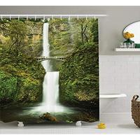 Vixm Hobbits Falls of Rivendell Multnomah Waterfall Oregon with Hobbit Elf Path Bridge Scene Fabric Shower Curtains