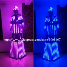 Newest LED Luminous Stilts Robot Suit With Led Helmet Growing Light Stilt Ballroom Costume Women Clothes For Party DJ Nightclub