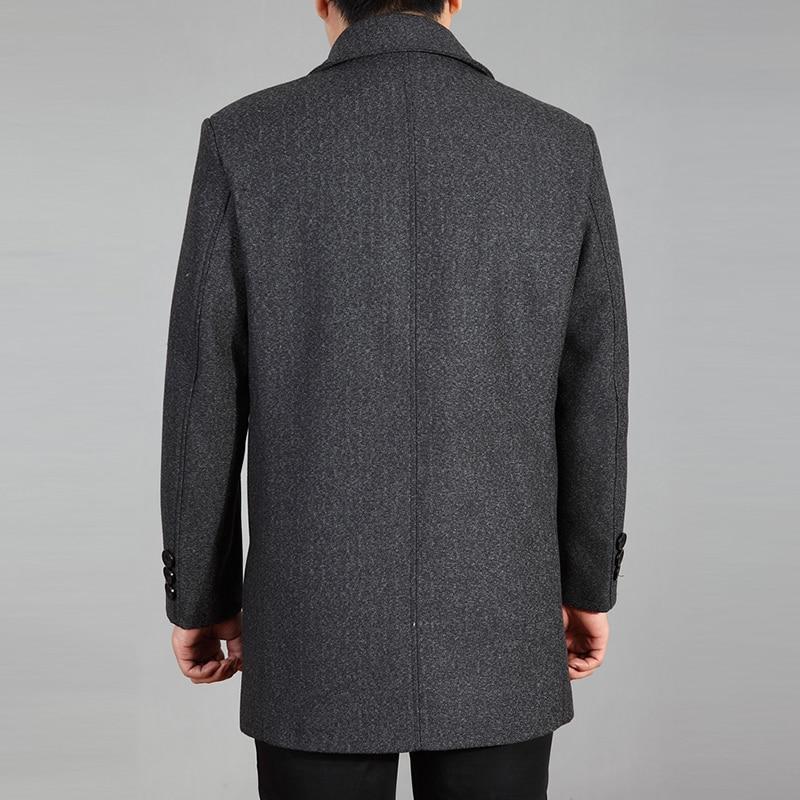 2019 abrigo de lana de alta calidad para hombre otoño invierno abrigo de lana chaqueta de lana abrigo de guisante para hombre abrigo largo de invierno Homme plus tamaño 7XL - 5