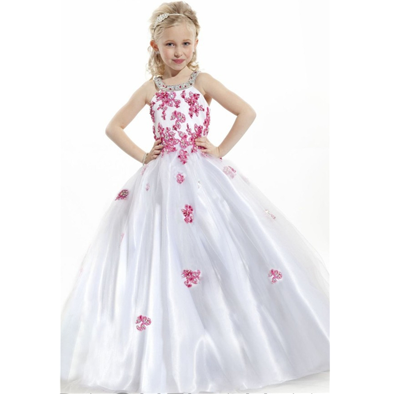 2015 lovely white flower girl dresses appliques kids party for Wedding party dresses for girl