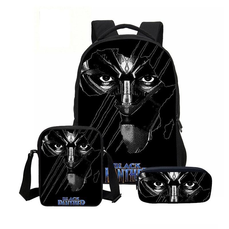 2018 New Arrival super Hero czarna pantera mężczyźni połączenie nastoletnich Bookbag moda 3 sztuk/zestaw plecaki torby na ramię Mochila w Plecaki od Bagaże i torby na  Grupa 1