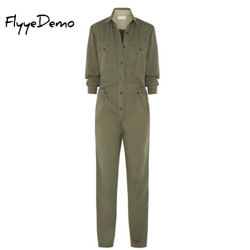 Brand Women Jumpsuits 2017 Autumn Women Rompers Sexy Jumpsuit Elegant Solid Bodysuit Long Sleeve Army Green