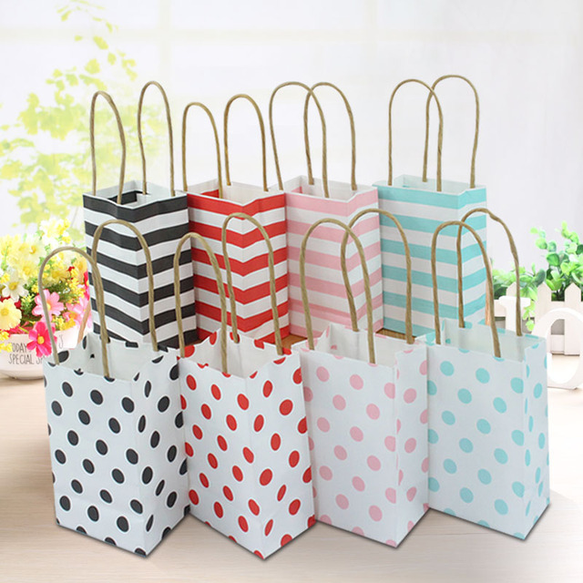 AVEBIEN 20pcs Small Gift Bag With Handles Wedding Decoration Paper For Jewelry Birthday