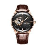 Новые часы Reef Tiger/RT роскошные часы из розового золота Мужские автоматические механические наручные часы Tourbillon часы с коричневым кожаным рем