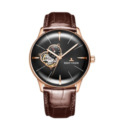 New Reef Tiger/RT Luxury Rose Gold Watch Men's Automatic Mechanical Watches Tourbillon Watches with Brown Leather Strap RGA8239