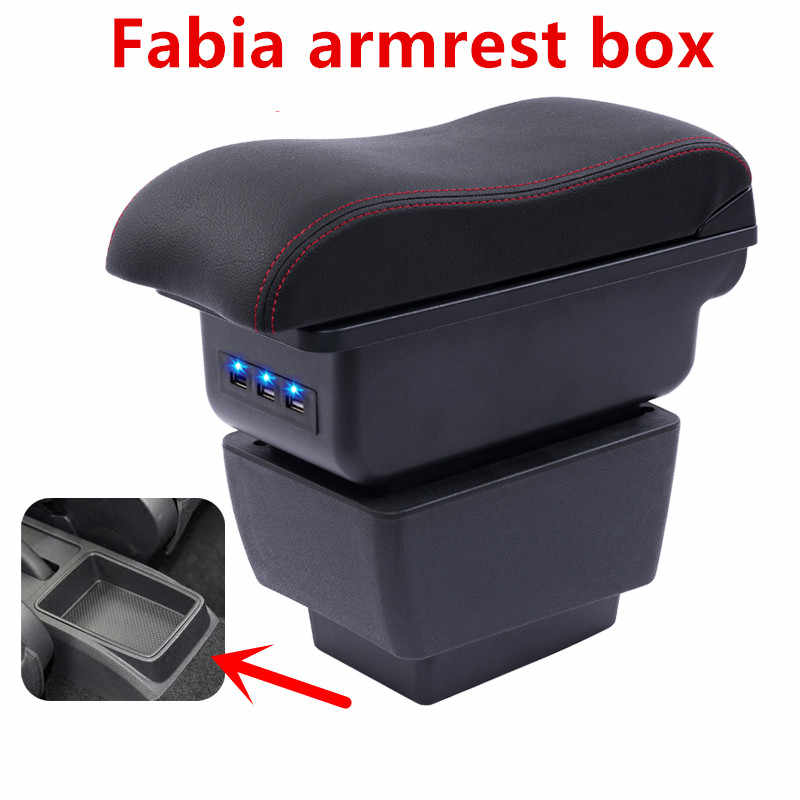 For New Fabia armrest box central Store content Storage skoda Fabia 3 armrest box with cup holder ashtray USB 2015-2017