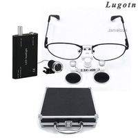 Metal box 2.5X lens near sighted removable glass detachable metal frame nearsighted operation loupe led dental magnifier