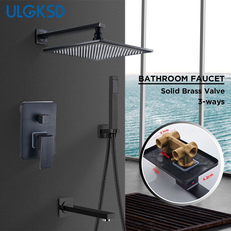 все цены на ULGKSD Bronze Brass Shower Head Wall Mount Shower Faucet Set W/ Handshower 3-ways Mixers Tap Square Heads For Bathroom Faucets онлайн