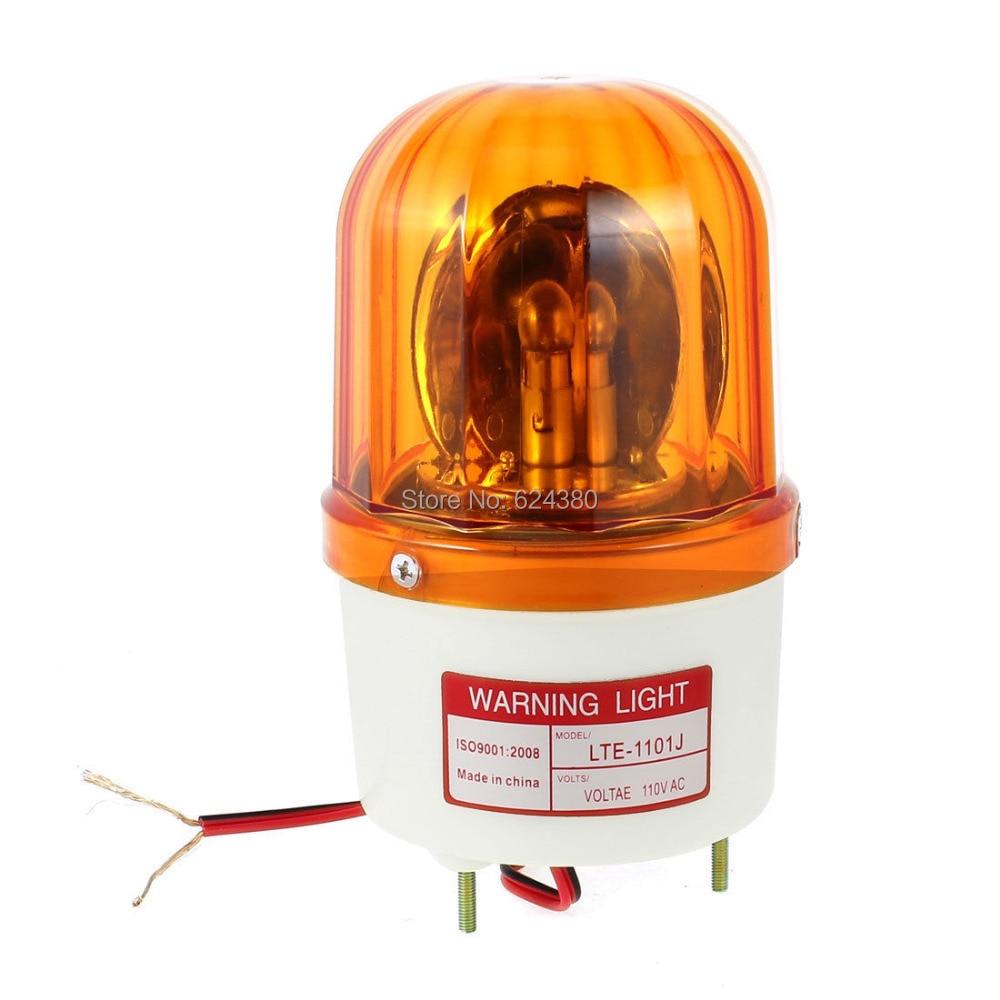 AC 110V 220V DC 12V 24V Industrial Signal Sound Alarm Light Rotary Strobe Flash Siren Emergency Warning Lamp Yellow LTE-1101J