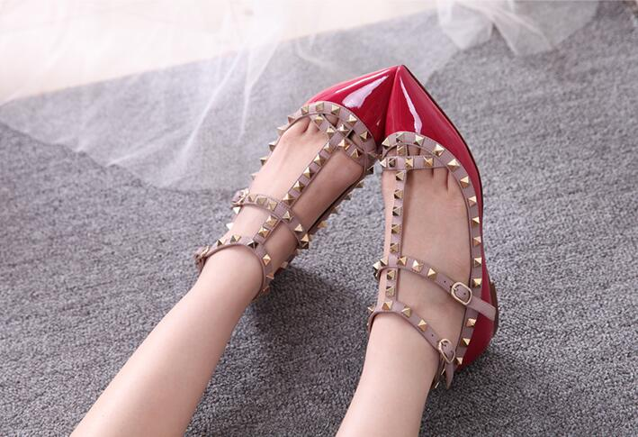 ФОТО Women's shoes pumps with pointed toe T-strap low heels women casual Summer pink studded high heels purple shoes rivet shoes red