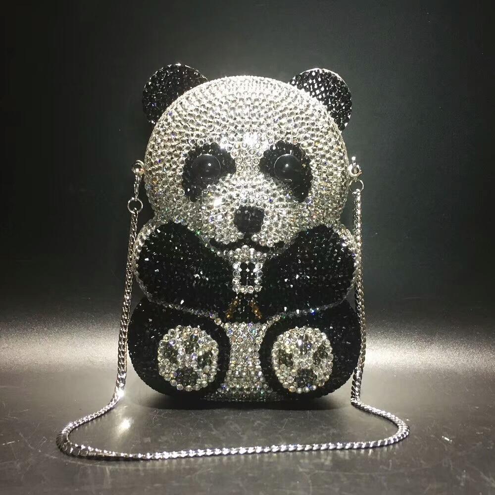 women panda shape Crystal Evening Bag Beaded Day Clutches Lady Wedding Purse Rhinestones Handbags Evening dress Clutch Bags