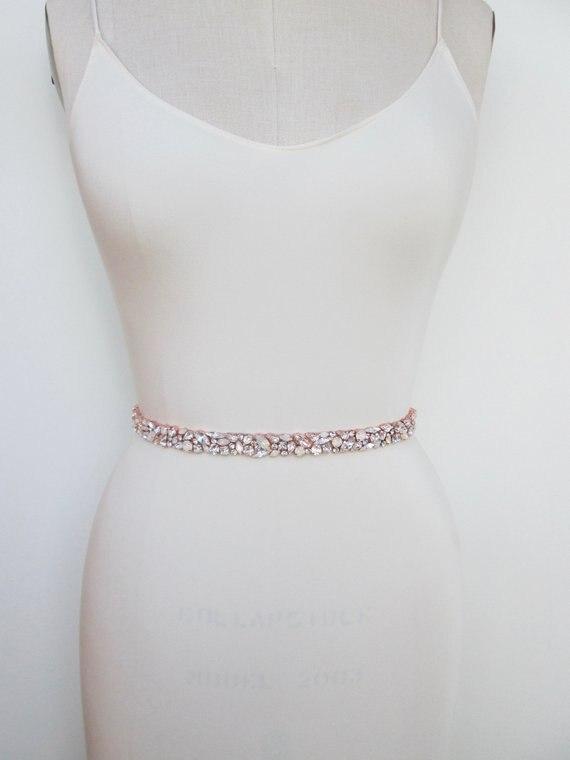Image 5 - MissRDress Wedding Dress Belt Crystal Rose Gold Handmade Opal Wedding Rhinestones Bridal Belts Sash Wedding Diamond Belt JK920-in Bridal Blets from Weddings & Events