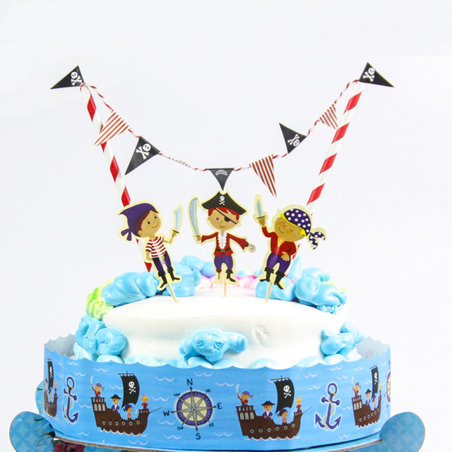 Free Shipping Pirate Birthday Cake Topper Birthday Party Decorations