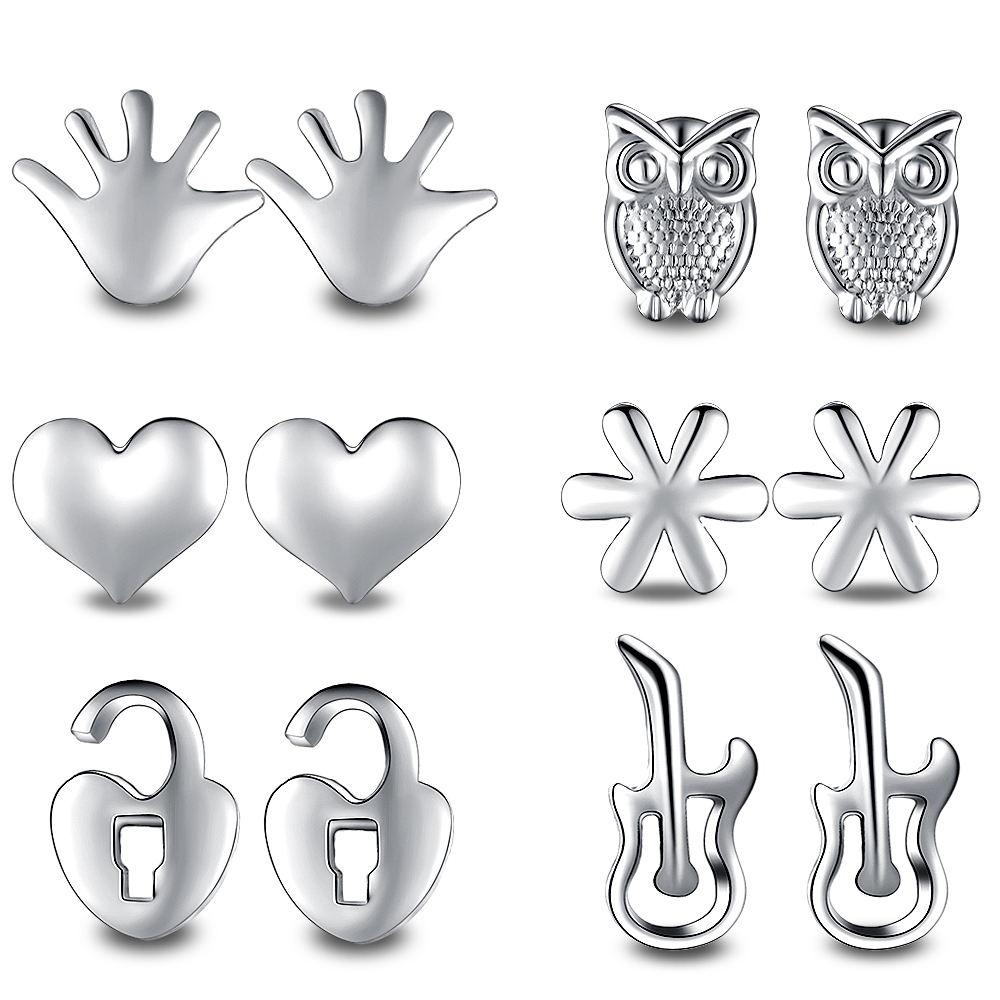 11pair New Fashion Classic Style Bead Crystal Heart Stud Earrings Set For Women Fine Silver