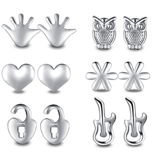 11pair/New Fashion Classic Style Bead Crystal Heart Stud Earrings Set For Women Fine Silver ornament  Jewelry Wholesale Price