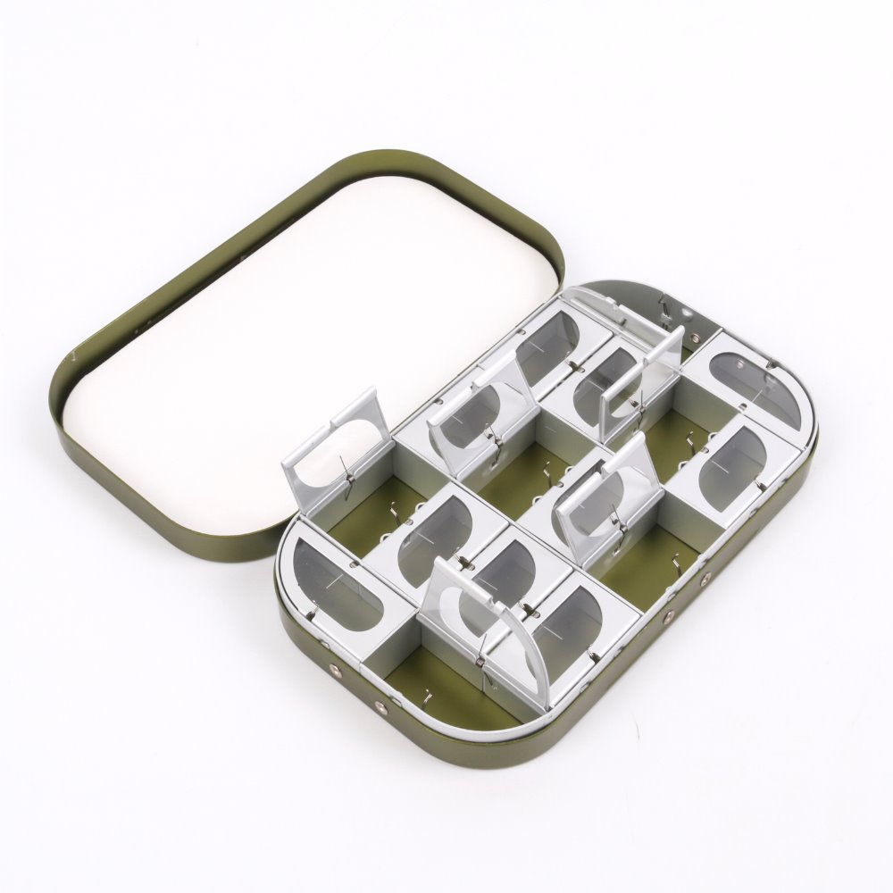 Fly box new multifunction aluminum 16 compartments for Fly fishing box