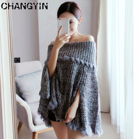 CHANGYIN Women Autumn Winter Thick Cloak Sleeves Knitted Sweater Off Shoulder Pullover Famale Slash Neck Jumper