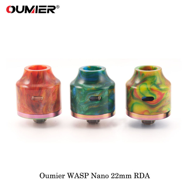 cigarette electronique Oumier WASP NANO RDA 22mm Rebuildable Dripping Tank Atomizer 510 drip tip Fit 510 Thead SMOK Box Mod Vape