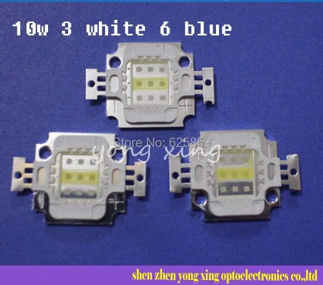 Square Actinic Hybrid 10W 6 Royal Blue 3 Cold White High Power LED Light Bulb