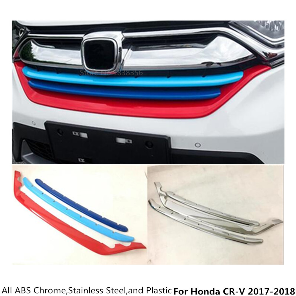 Car cover ABS Chrome/Stainless steel front engine Machine racing grill grille lid trim Frame edge For Honda CRV CR-V 2017 2018 for honda crv cr v 2017 2018 stainless steel inner