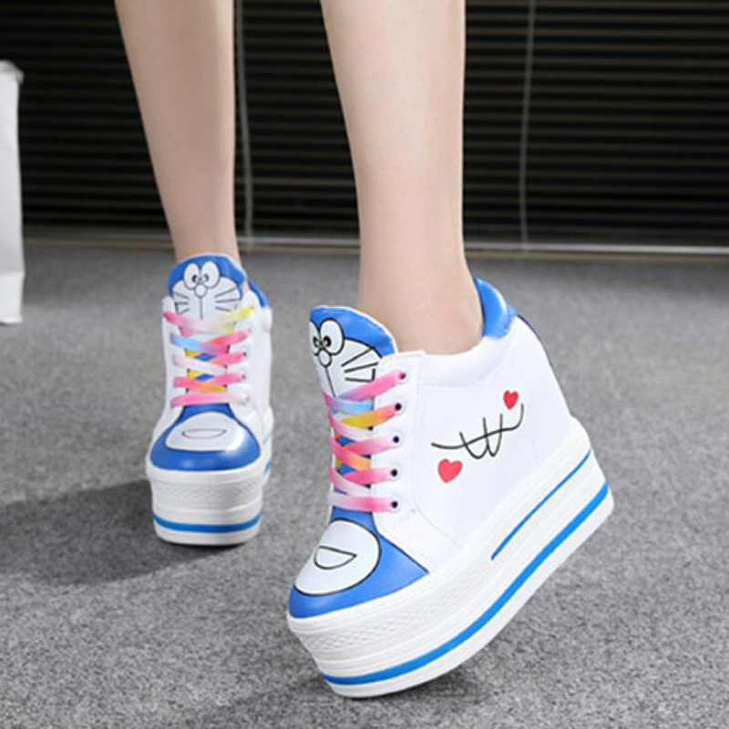 Women Sneakers 2020 Spring Autumn High Heels Ladies Casual Shoes Women Wedges Platform Shoes Female Thick Bottom Trainers W405