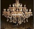 Современная хрустальная люстра  Роскошная Современная хрустальная лампа  люстра  освещение  янтарный Золотой Кристалл K9  люстра  хрустальн...
