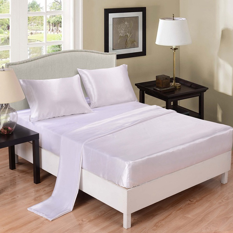 Home Textile Satin Silk Coverlet Bed Sheet Set Solid White
