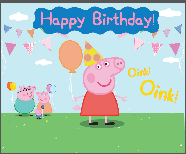7x5FT Balloons Flags Happy Birthday Cartoon Pig Oink Grass