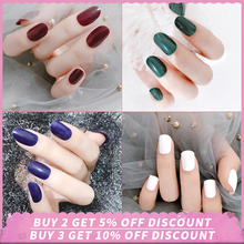 Fake Nails 24Pcs Full Nail Cover Tips Solid Color Designs With 24 Pcs Transparente Tapes False Art 15 Styles