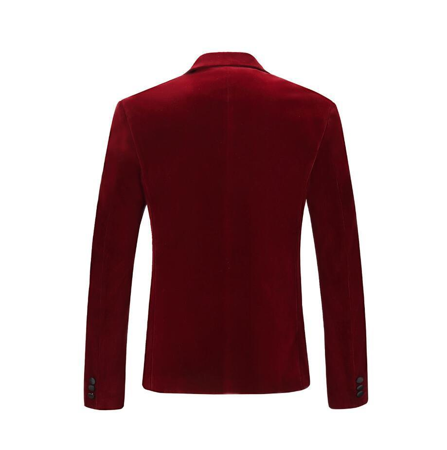 PYJTRL Hommes Automne Hiver Velours Vin Rouge De Mode de Loisirs Veste de Costume De Mariage Marié Chanteur Slim Fit Blazer Hombre Masculino - 2