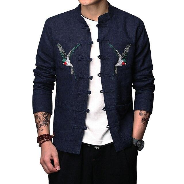 new styles 96b8f 26301 US $60.25 |Uomini giacca Più XXXL Biancheria In Cotone giacche Slim Lino  Ricamo uccelli Giacca per L'uomo Cappotto Retro Stile Cinese Aperto Fibbie  M ...