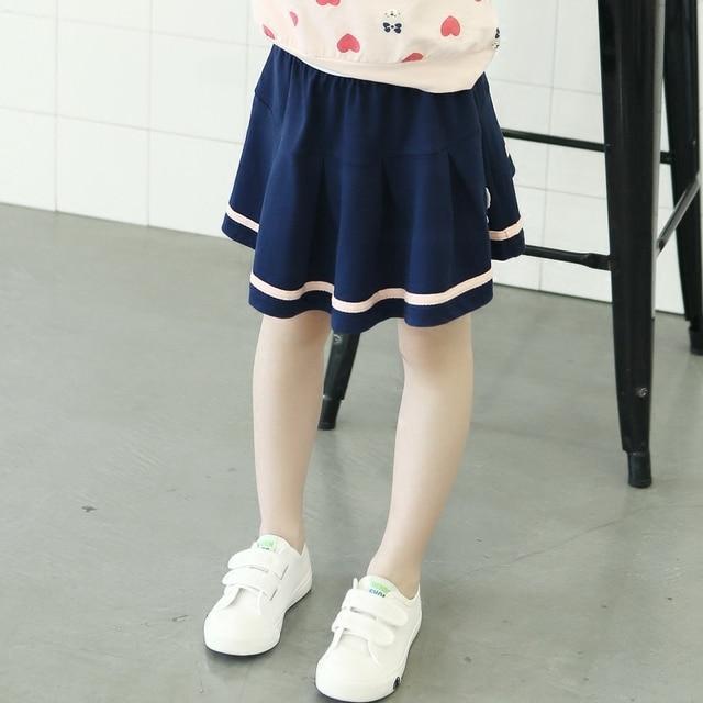 Vestidos Single stripe preppy blue skirt elastic waist knee-length girls clothes summer cotton skirt  3 4 5 6 7 8 9 10 11 years