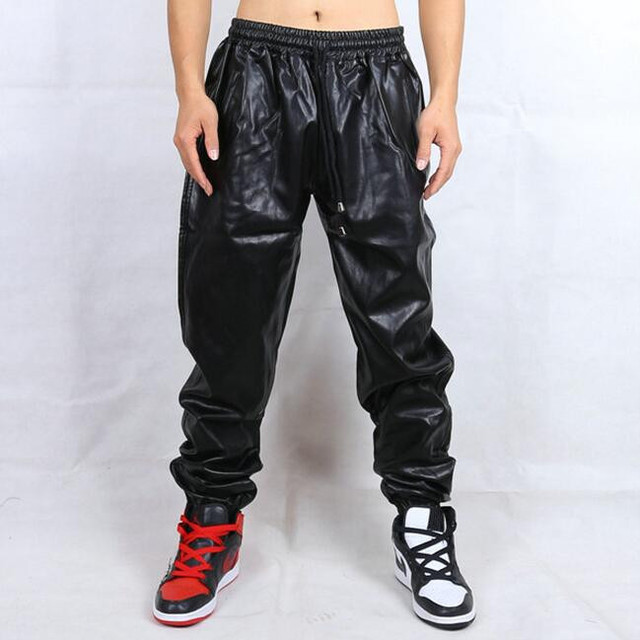 Men Hiphop Faux Leather Pants Bboy Pants Zippered Leg Opening New 2017 Mens Motorcycle PU Pants Side Zipper Free Shipping