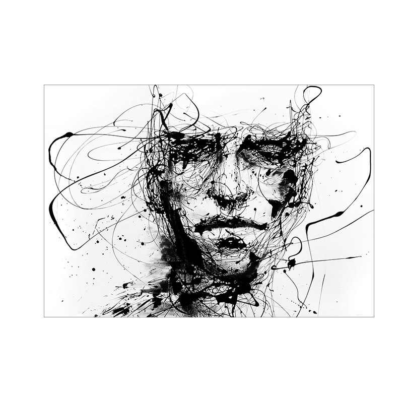 Modern Black And White Canvas Painting Art Print Wall Poster Abstract Line Figure Wall Pictures Wall Art for Living Room Decor