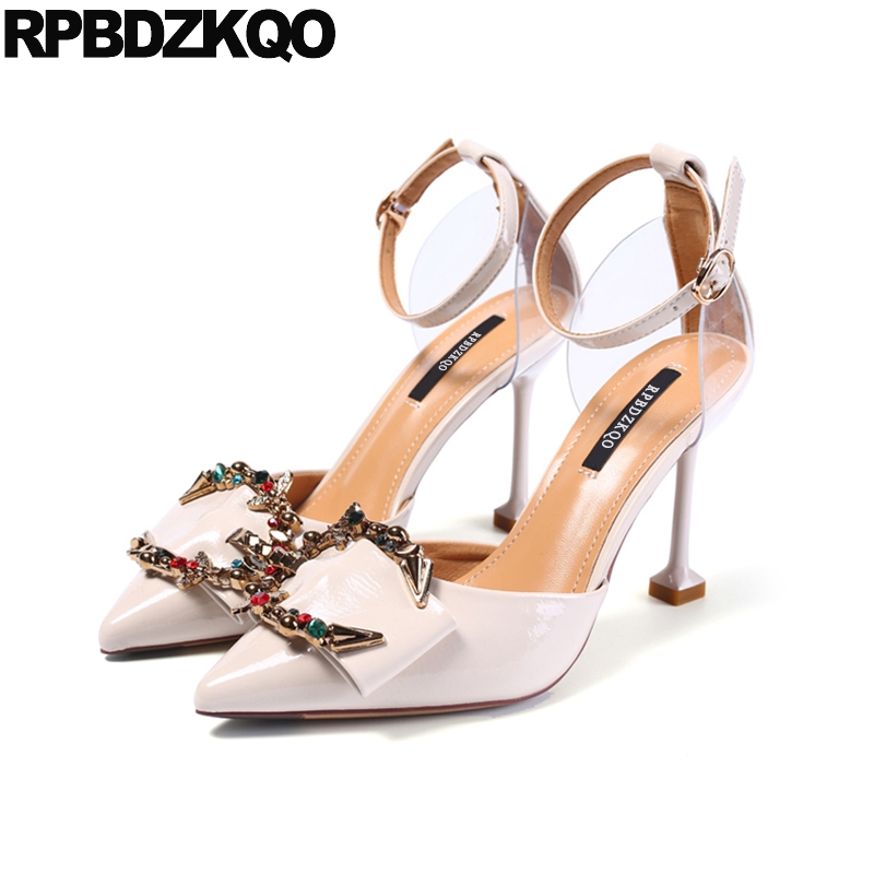 Ankle Strap Beige High Heels Diamond Pointed Toe