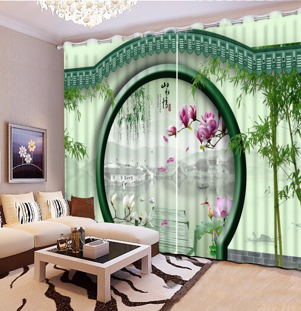 Luxury Curtains Modern green 3D Curtains For Living Room ...