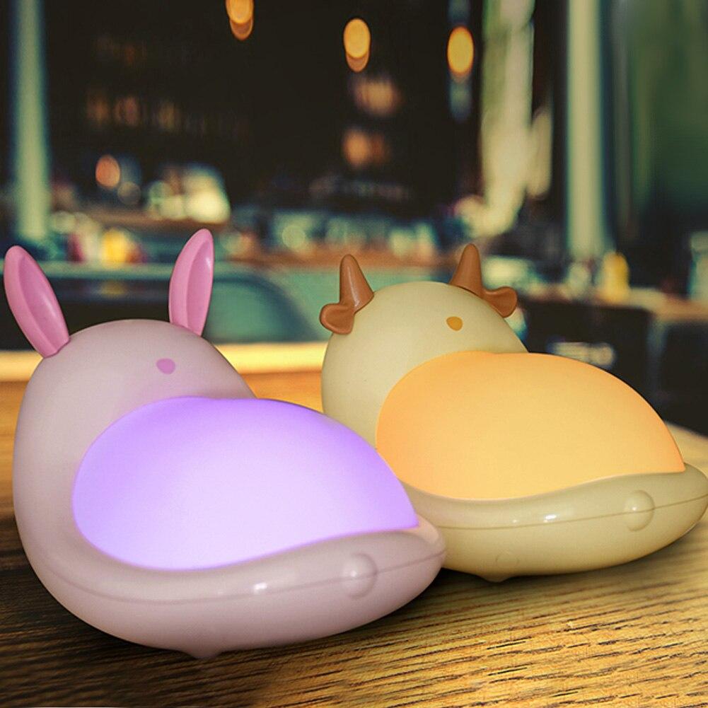 Baby Bedroom Lamps Night Light Electrodeles Cartoon LED Rabbit Cattle Colorful Sleep Led Kid Lamp Bulb Nightlight for Children