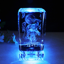 12 Constellations Statuettes Crystal Glass Figurines Miniatures Craft Ornaments For Home Decorations Birthday Christmas Gifts