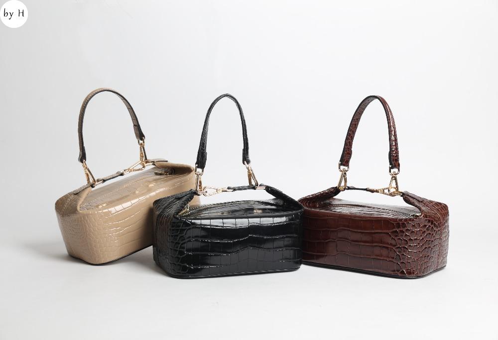 by H crocodlie women lunch box bag fashion icon embossed alligator ladylike top handle vintage stachels genuine leather totesbag
